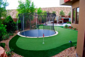 Putting green and trampoline